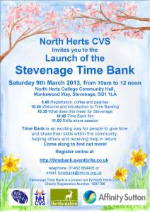 Stevenage Time Bank Launch Invite